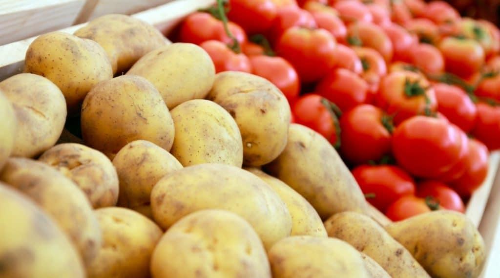 Potatoes Next To Tomatoes