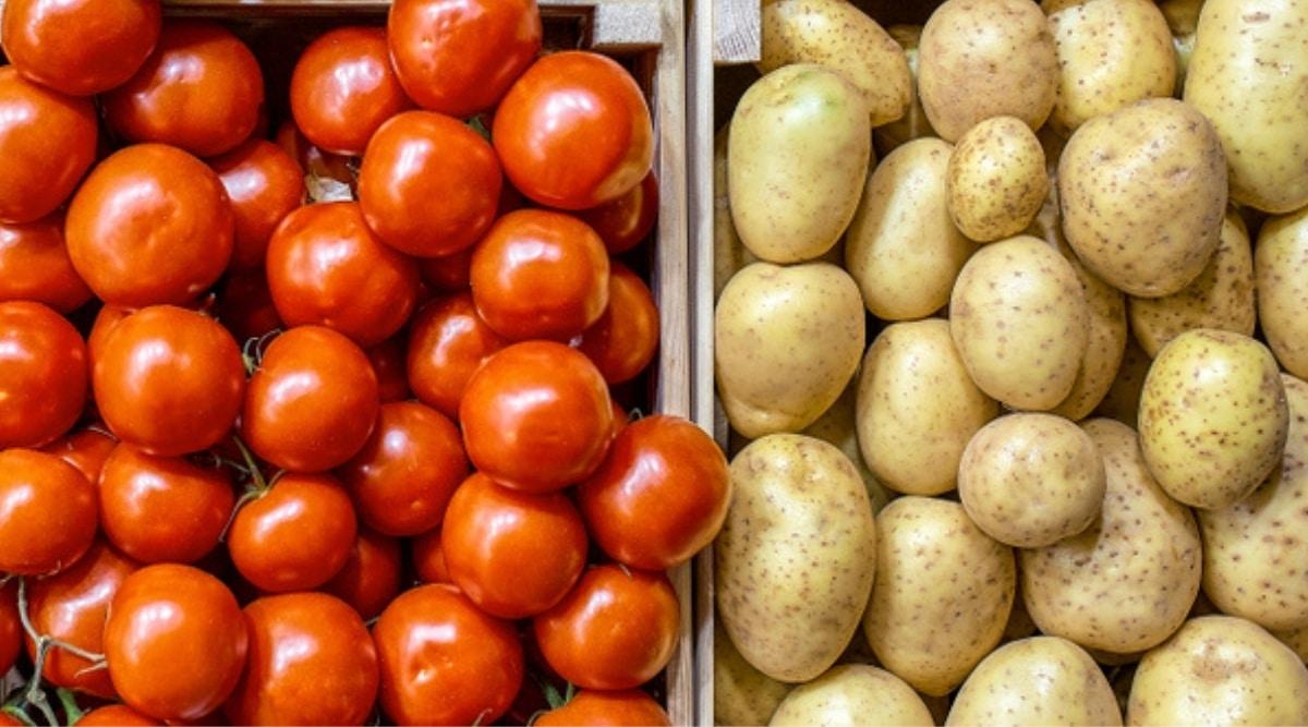 Tomato Next To Potato in Crate